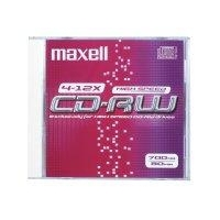 CD(R)W, DVD(R)W en blu-Ray - Maxell CD-RW 80  700MB 1-12X JC 10pac 10 pcs - 626001