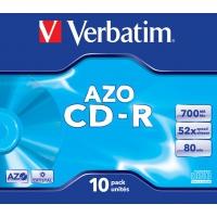 CD(R)W, DVD(R)W en blu-Ray - Verbatim AZO Crystal - 10 x CD-R - 700 MB 52x - jewel case - 43327