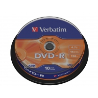 CD(R)W, DVD(R)W en blu-Ray - Verbatim - 10 x DVD-R - 4.7 GB 16x - dof zilver - spindel - 43523