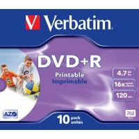 Mobiele telefoons acc. - Wentronic DVD+R 4,7GB Wide Inkjet Printable ID Brand DVD+R 16x JC 4,7GB Verb Pr. 10St 16x, 10 stuks, Jewel Case 24 maanden garantie - 43508