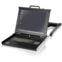 Rack monitor consoles - LevelOne KVM-0117DE 17 inch TFT Rackmount Console incl. keyboard, & touchpad, Duits layout - KVM-0117DE