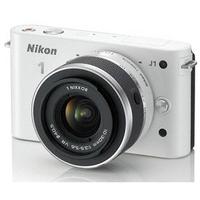 Digitale fotocameras - Nikon 1 J1 - Digitale camera - spiegelloos - 10.1 MP - 3x optische zoom 1 NIKKOR VR 10-30 mm lens - wit - VVA-152-K001